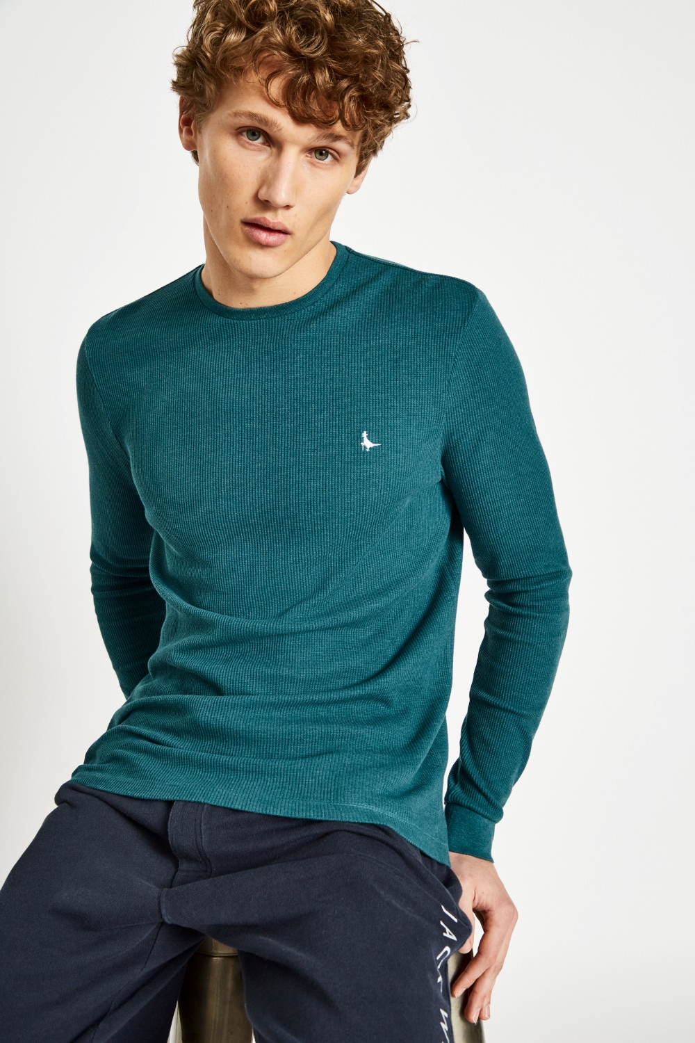 Jack Wills Teal FROGWELL LONG SLEEVE T-SHIRT