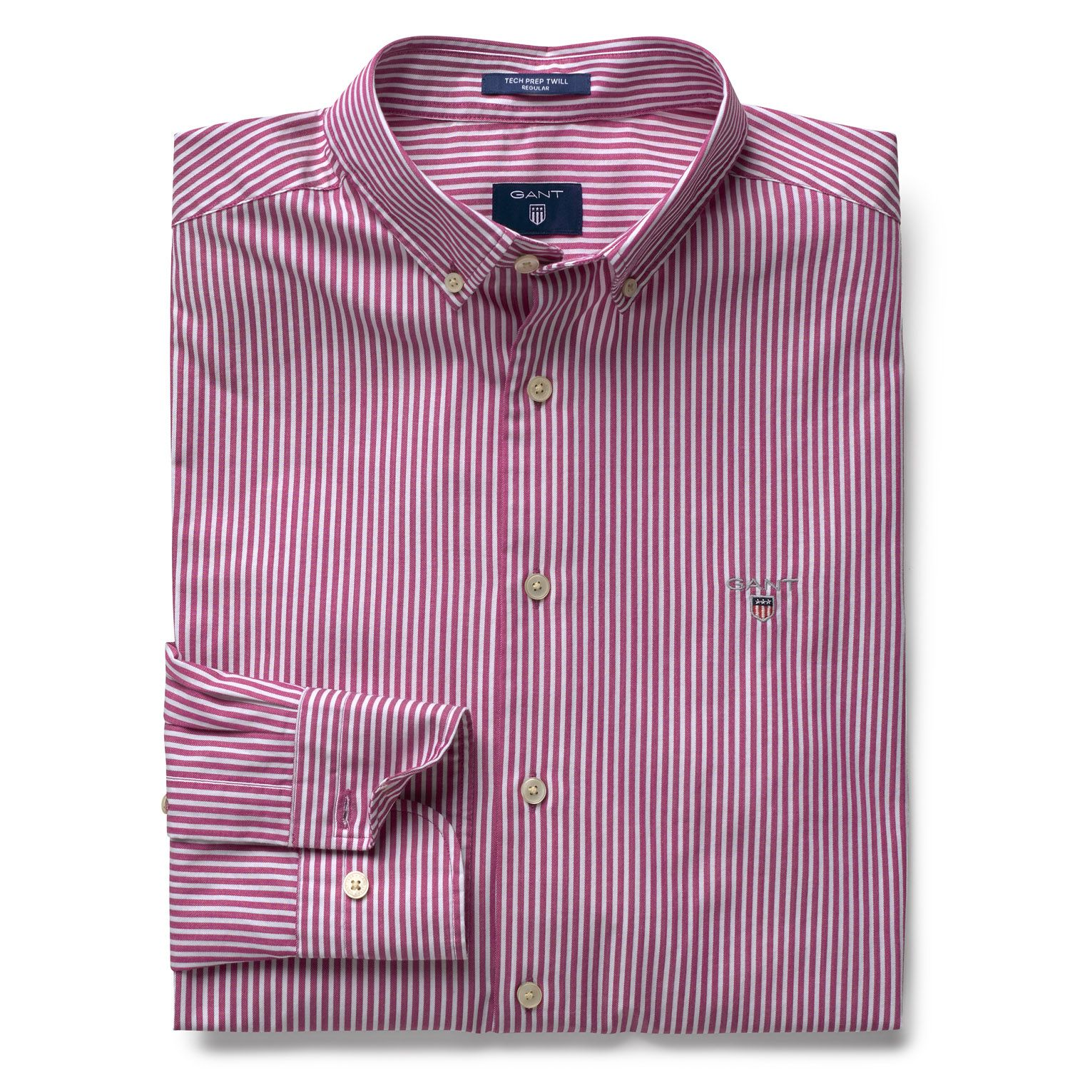 GANT Raspberry Purple Tech Prep™ Regular Fit Twill Stripe Shirt