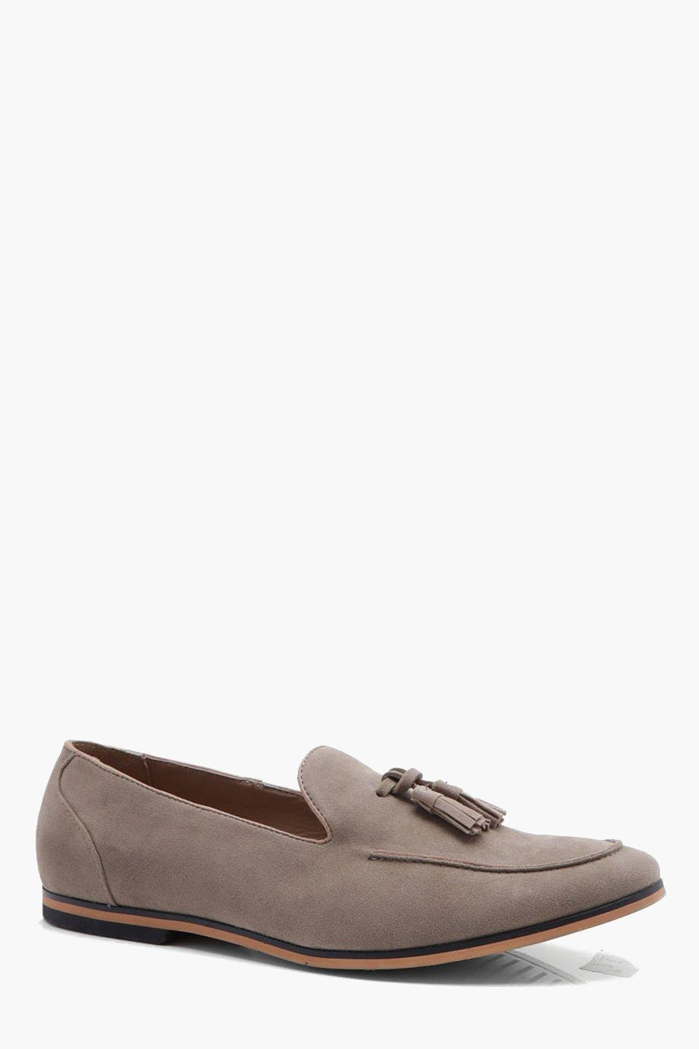 boohooMAN sand Faux Suede Tassel Loafer