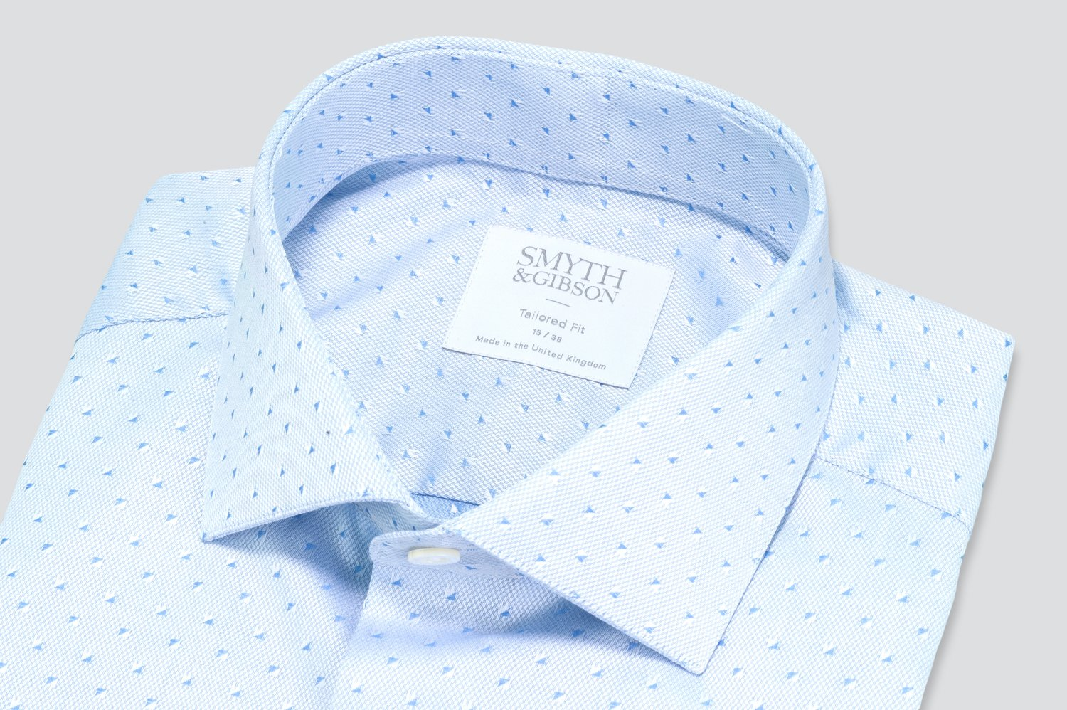 Smyth & Gibson Jacquard Square Print Tailored Fit Shirt in Sky Blue