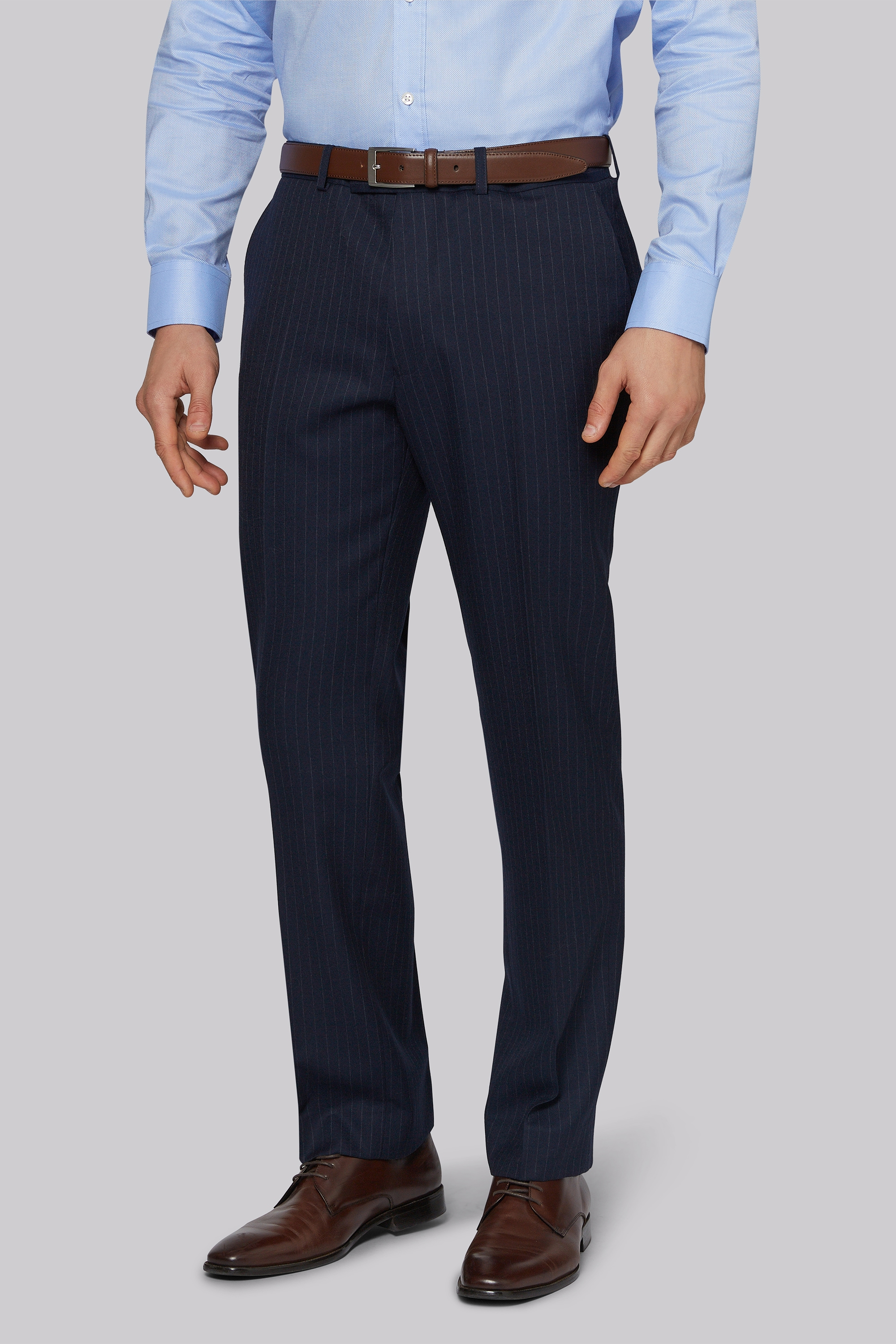 Moss Bros Regular Fit Navy Chalk Stripe Trousers