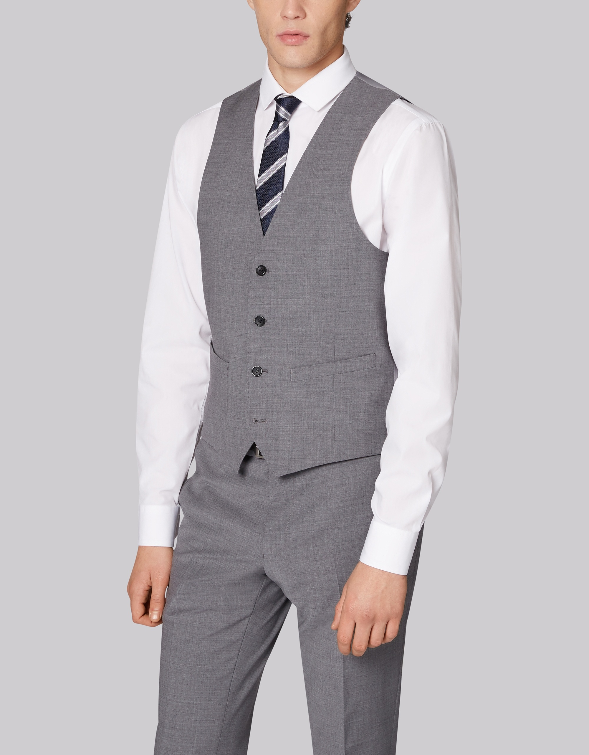 Moss Bros Moss London Performance Skinny Fit Light Grey Waistcoat