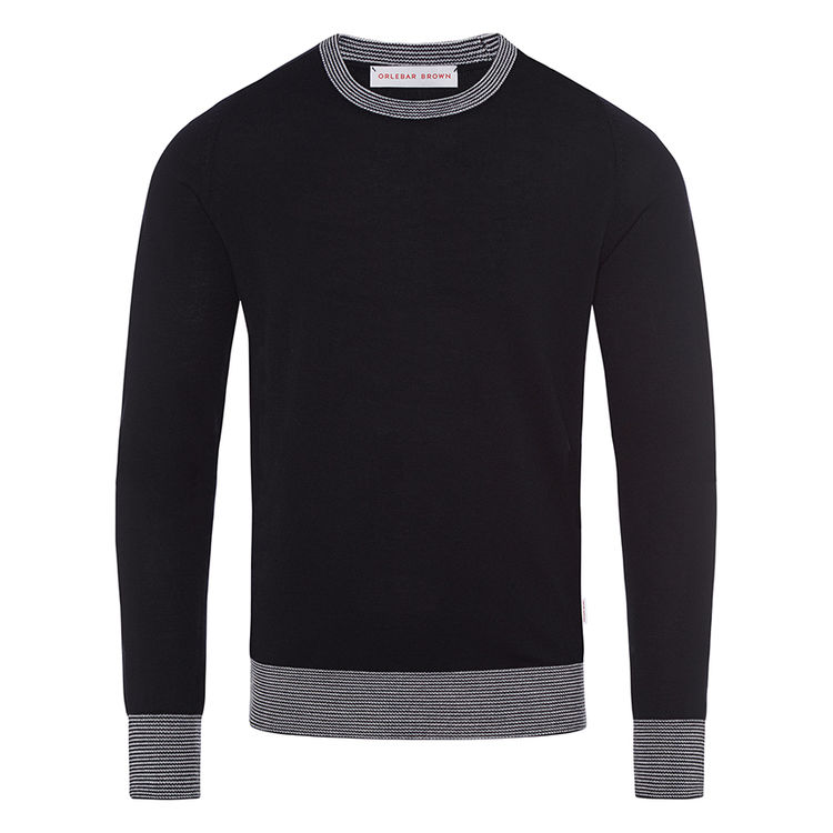 Orlebar Brown LUCAS MERINO Navy/Pale Grey Classic-Fit Crew-Neck Sweater