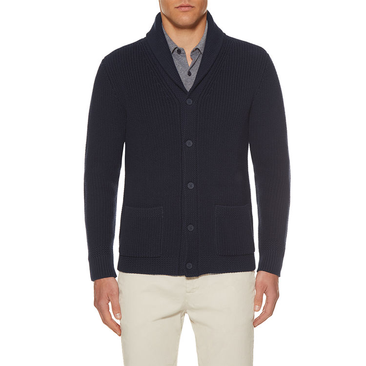 Orlebar Brown LOWE Navy Shawl-Collar Cardigan