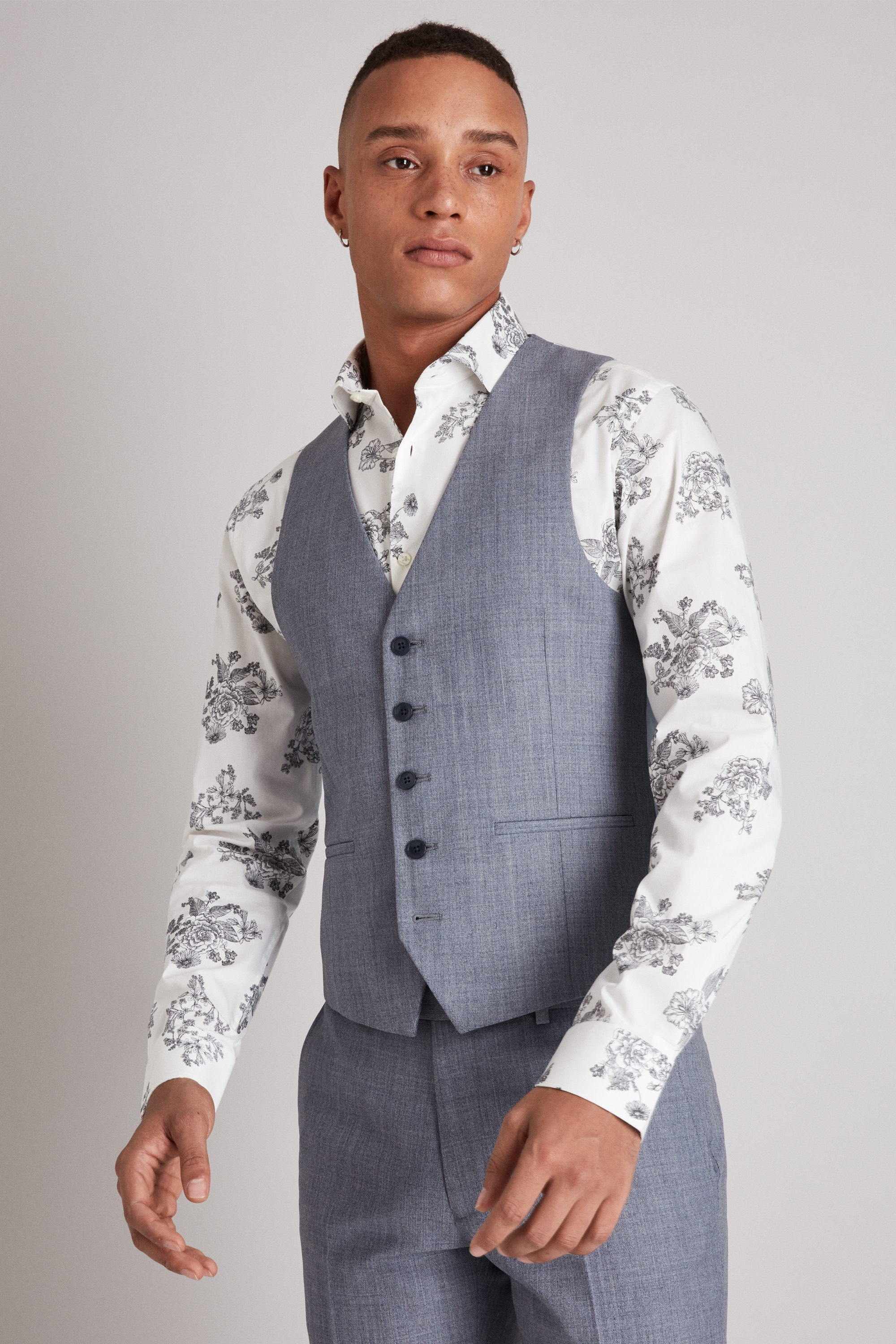 Moss Bros Moss London Skinny Fit Light Blue Crepe Waistcoat