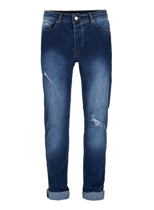 Topman Blue Antioch washed blue ripped stretch skinny jeans