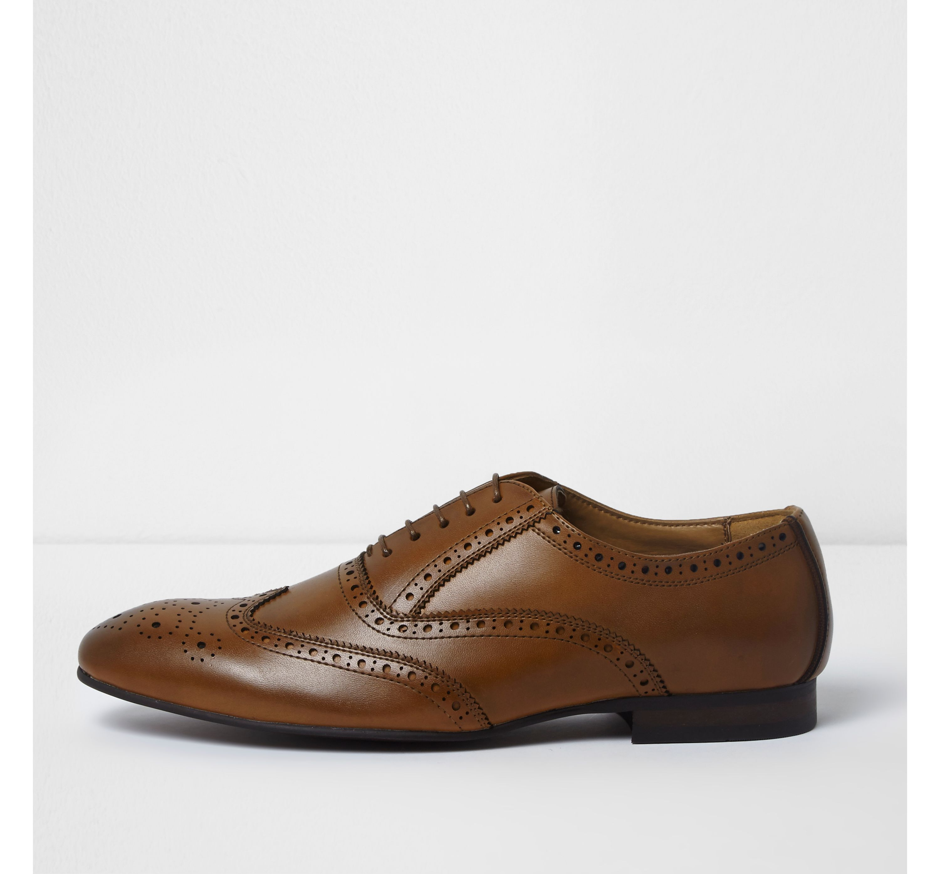 River Island Mens Tan brown lace-up oxford brogues