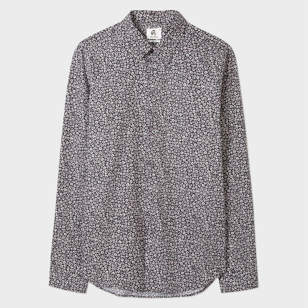 Paul Smith Men's Slim-Fit Black 'Etched Floral' Print Cotton Shirt