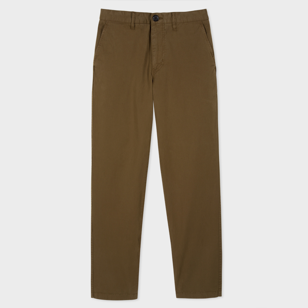 Paul Smith Men's Tapered-Fit Khaki Garment-Dye Pima-Cotton Stretch Chinos