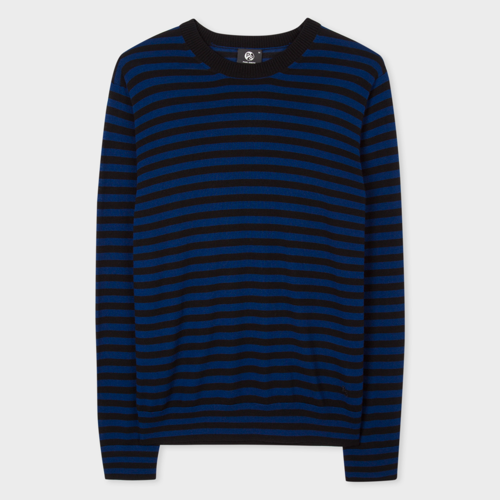 Paul Smith Men's Black And Blue Breton-Stripe Merino Wool Sweater