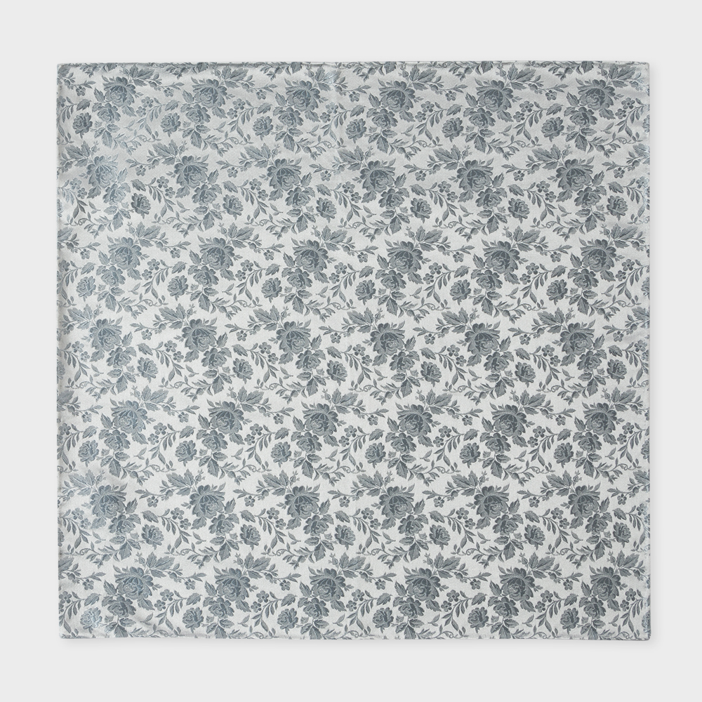 Paul Smith Men's Light Grey Floral Jacquard Silk Pocket Square