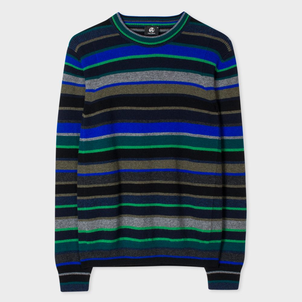 Paul Smith Men's Green Mixed-Stripe Lambswool Sweater