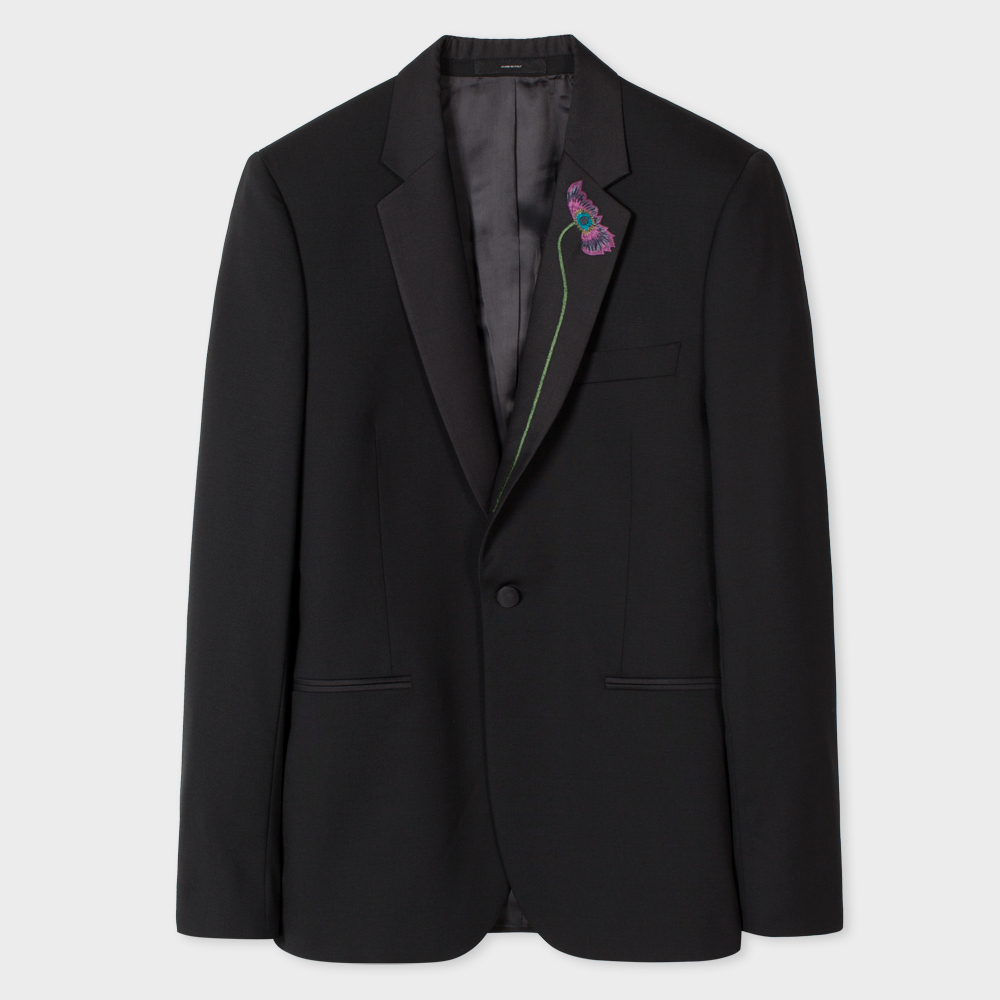 Paul Smith Men's Tailored-Fit Black Stretch-Wool Evening Blazer With Floral Lapel Embroidery