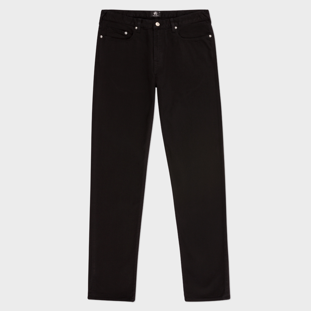 Paul Smith Men's Tapered-Fit Black Garment-Dyed Lightweight Jeans