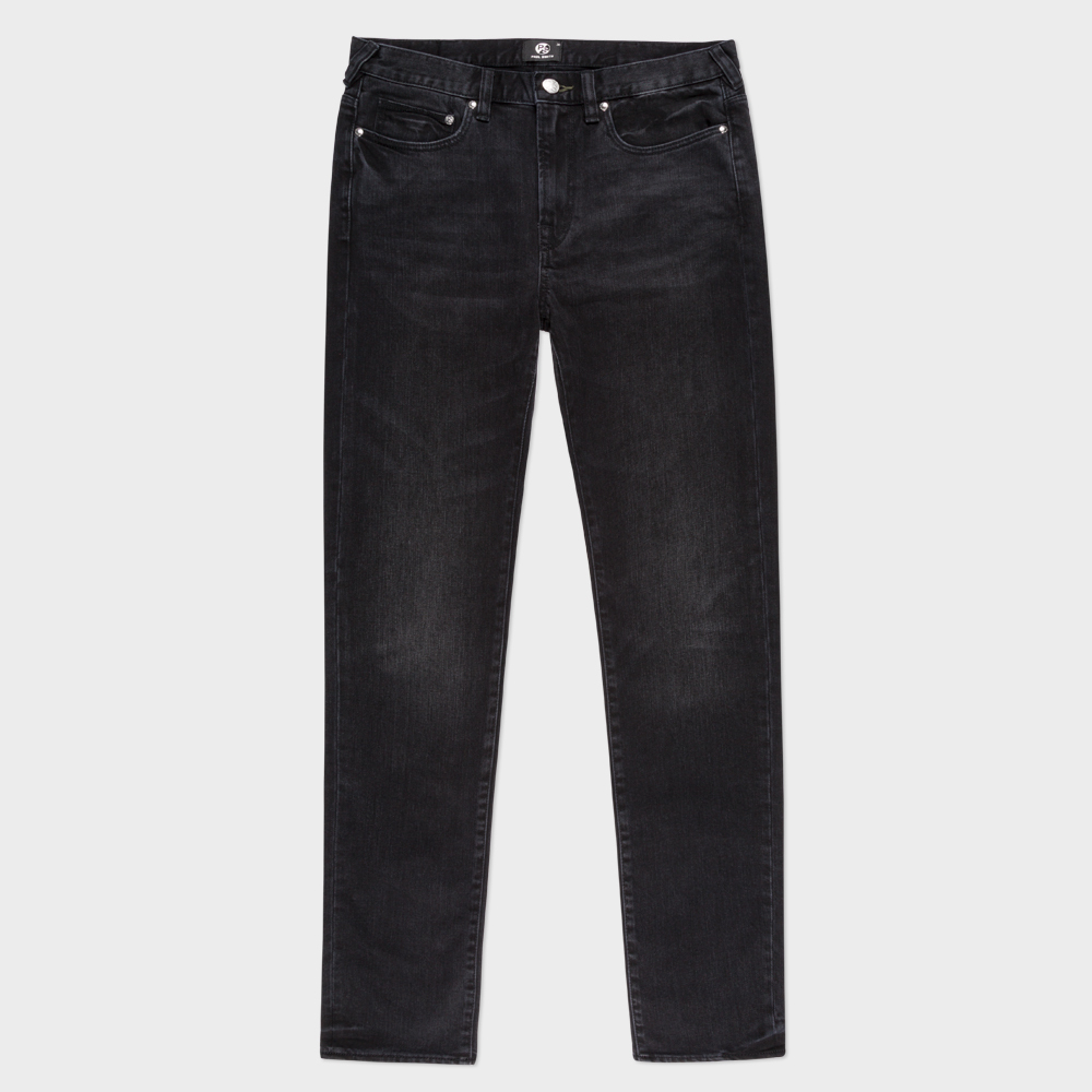 Paul Smith Men's Slim-Fit Washed Black Stretch-Denim Jeans