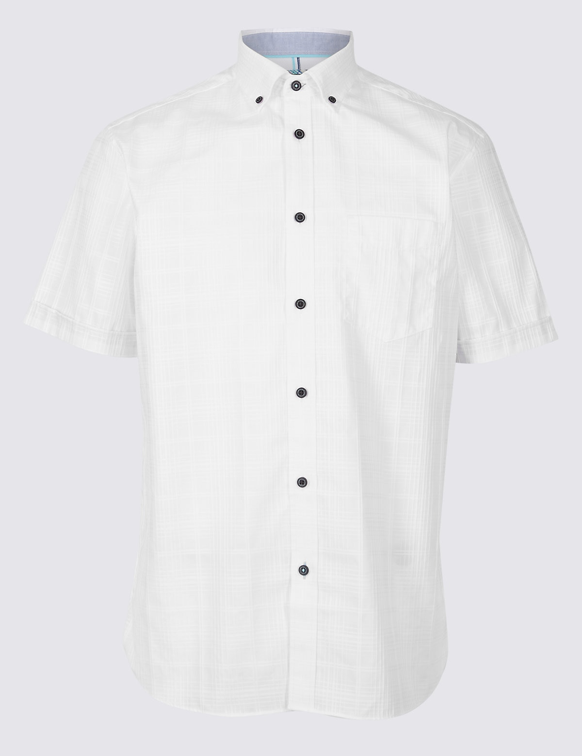 Marks & Spencer White Pure Cotton Textured Shirt with Pocket