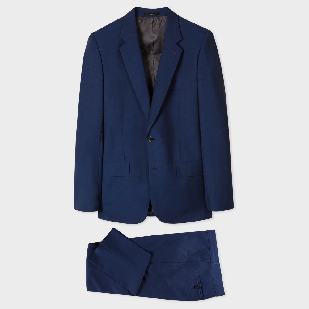 Paul Smith The Mayfair - Men's Classic-Fit Blue Wool-Mohair 'Suit To Travel In'