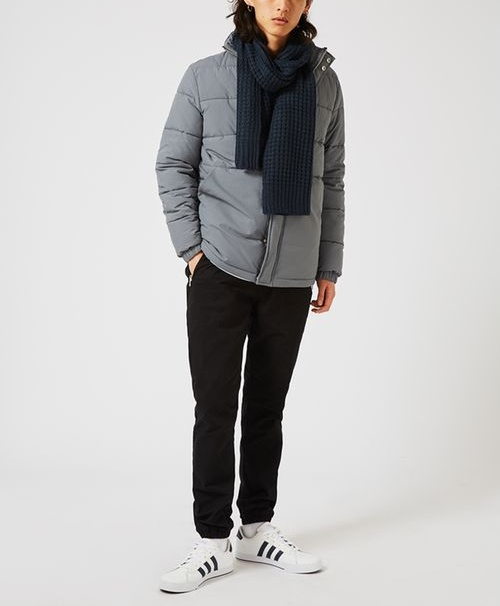 Topman Blue Selected structure navy waffle textured scarf