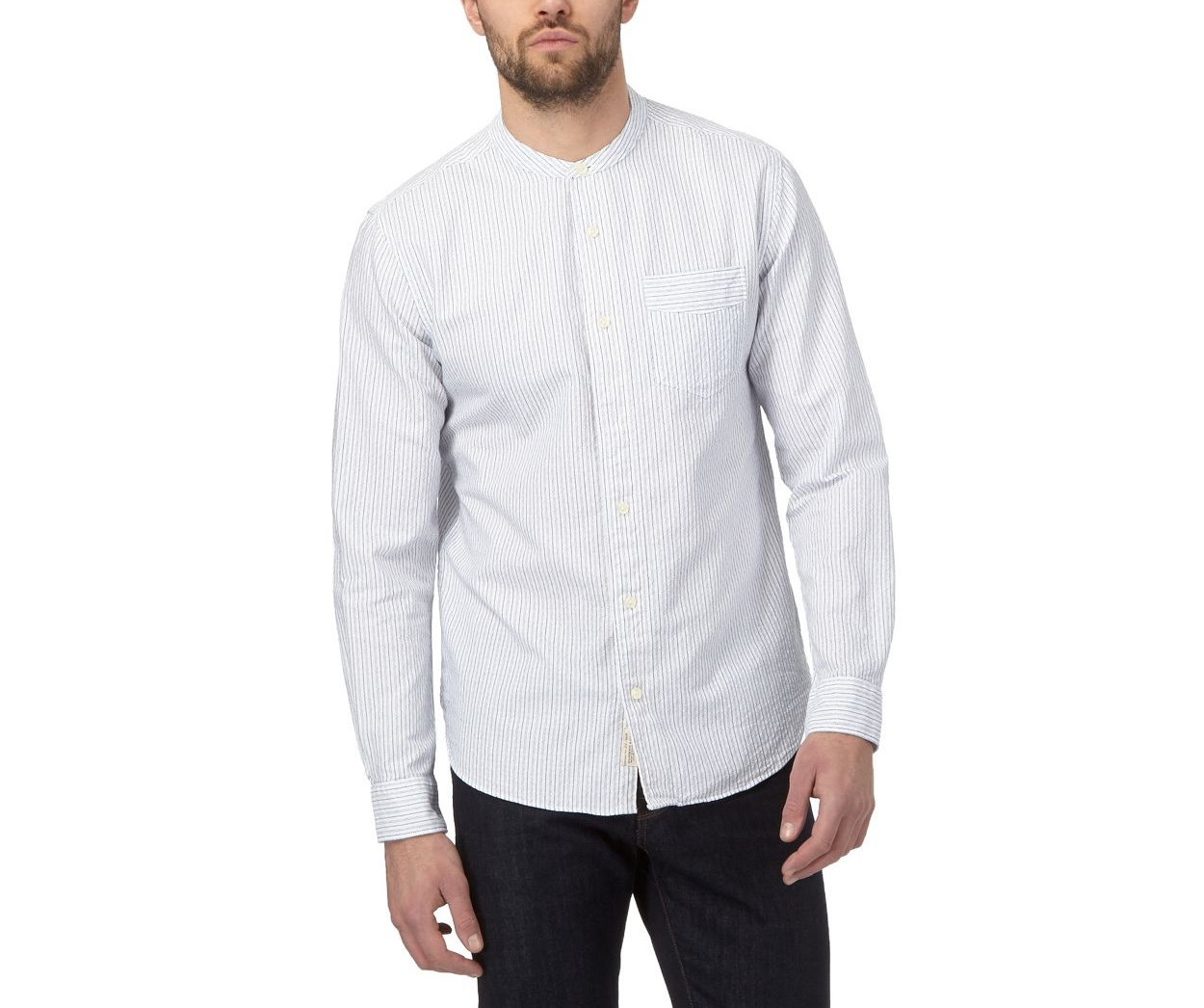 Hammond & Co. by Patrick Grant White Big and tall white textured grandad collar shirt