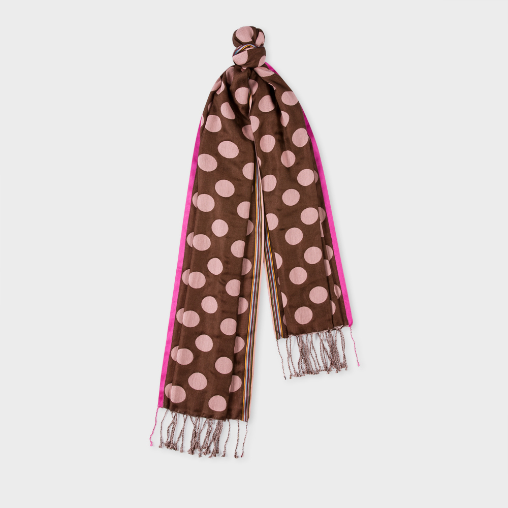 Paul Smith Men's Brown And Pink Polka Dot Silk-Blend Scarf