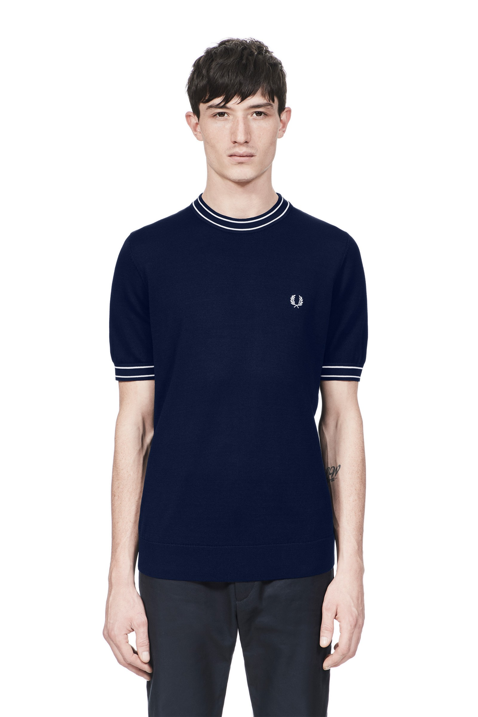 Fred Perry Tipped Knitted Crew Neck