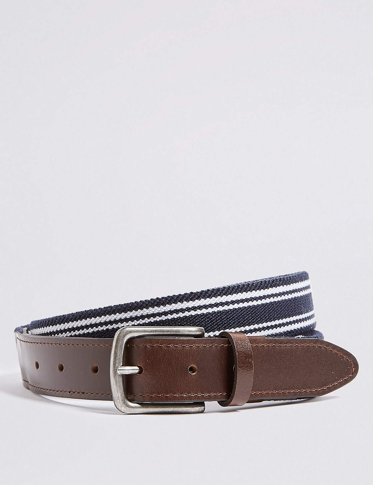 Marks & Spencer Navy Stitch Detail Rectangular Buckle Casual Belt