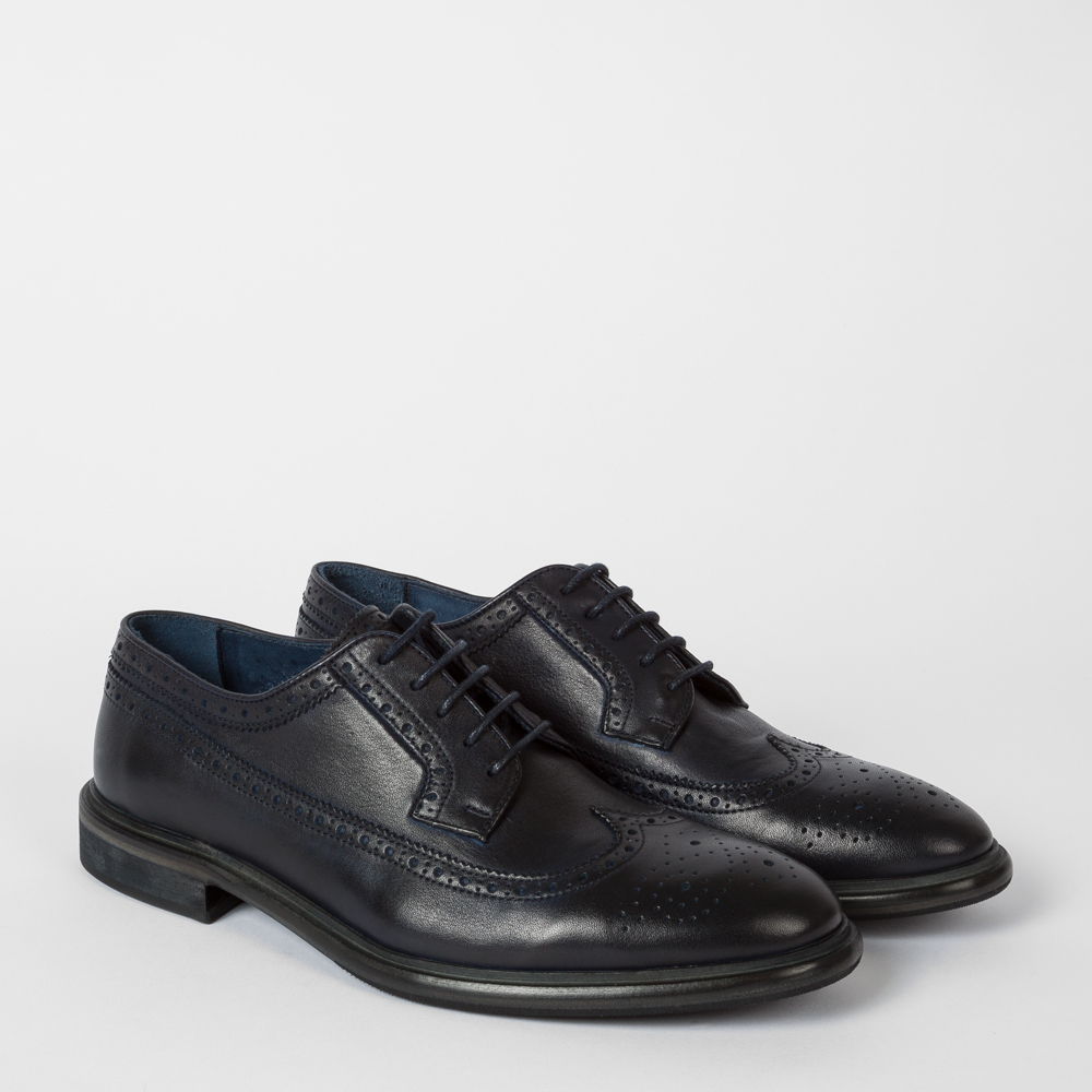 Paul Smith Men's Dip-Dyed Navy Leather 'Malloy' Brogues