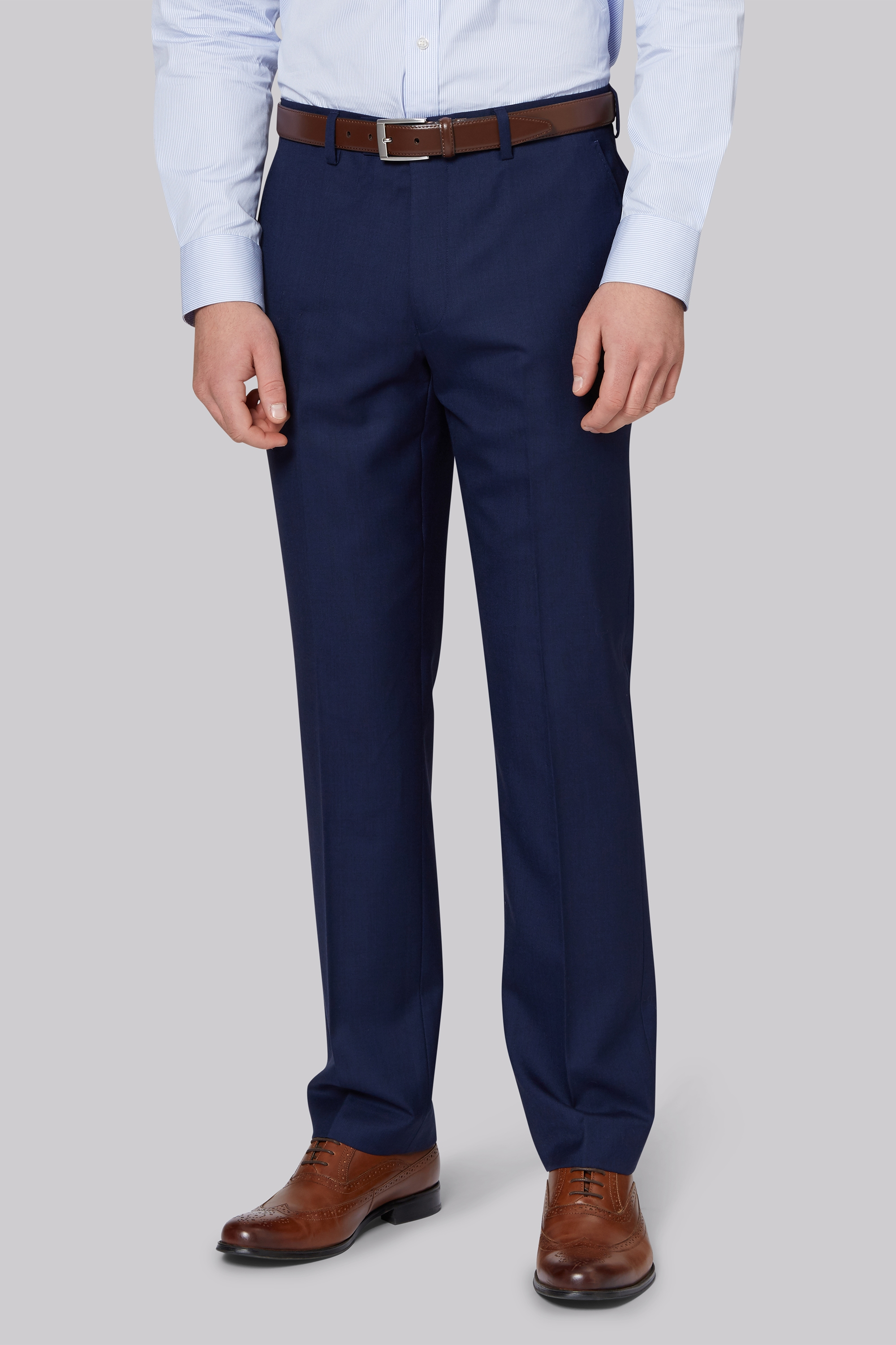 Moss Bros Gold Tailored Fit Navy Two Tone Trousers
