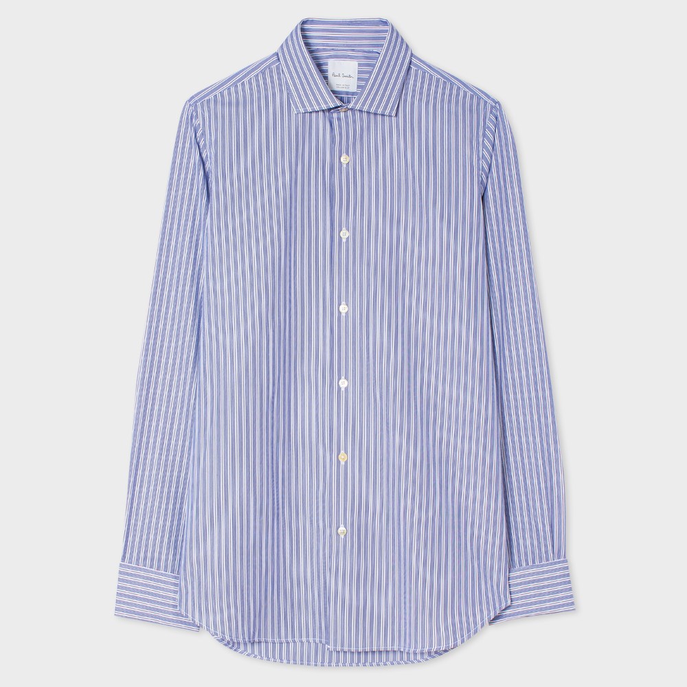 Paul Smith Men's Tailored-Fit Blue Ticking-Stripe Double-Cuff Shirt