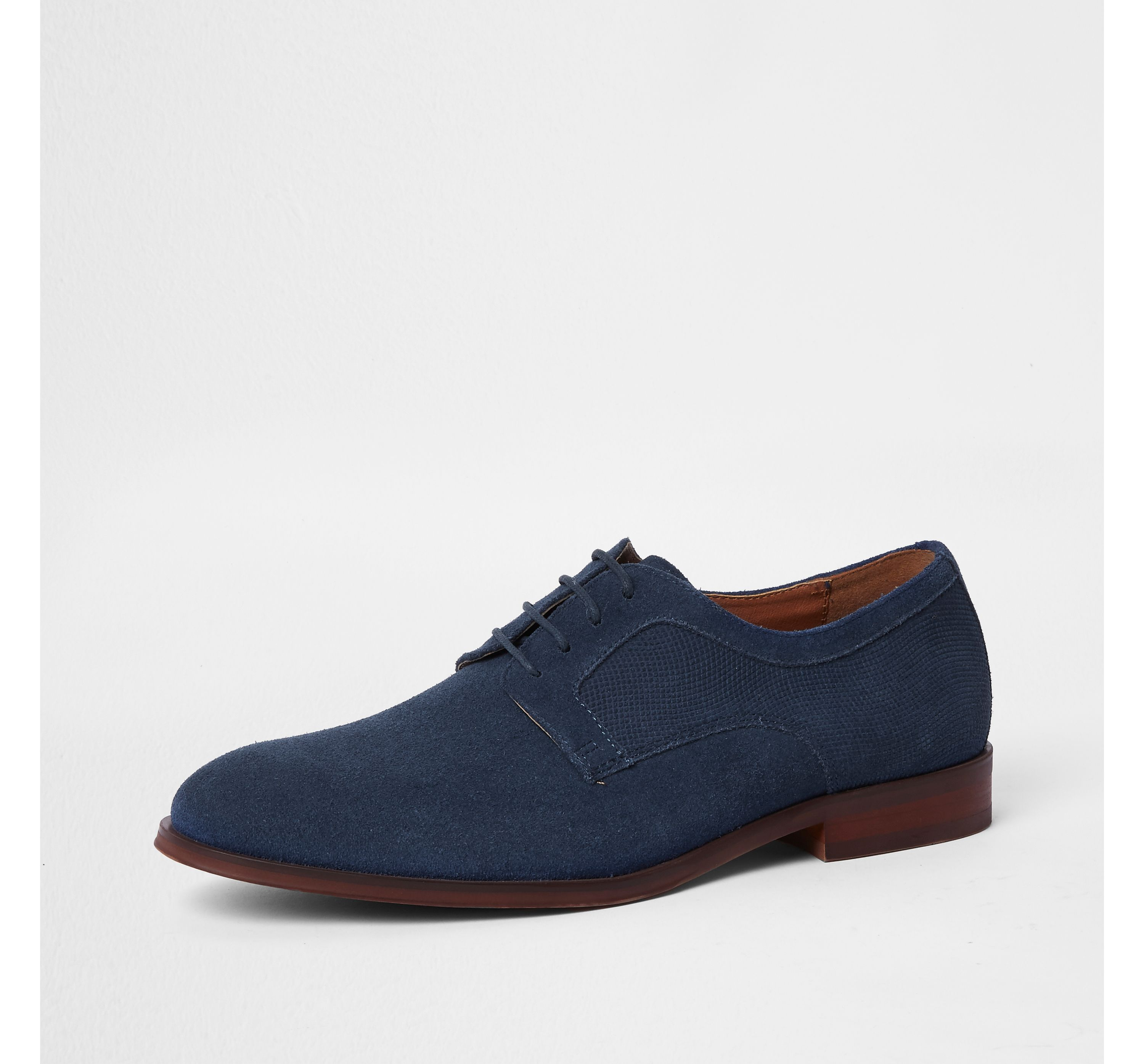 River Island Mens suede textured derby shoes lsnJl