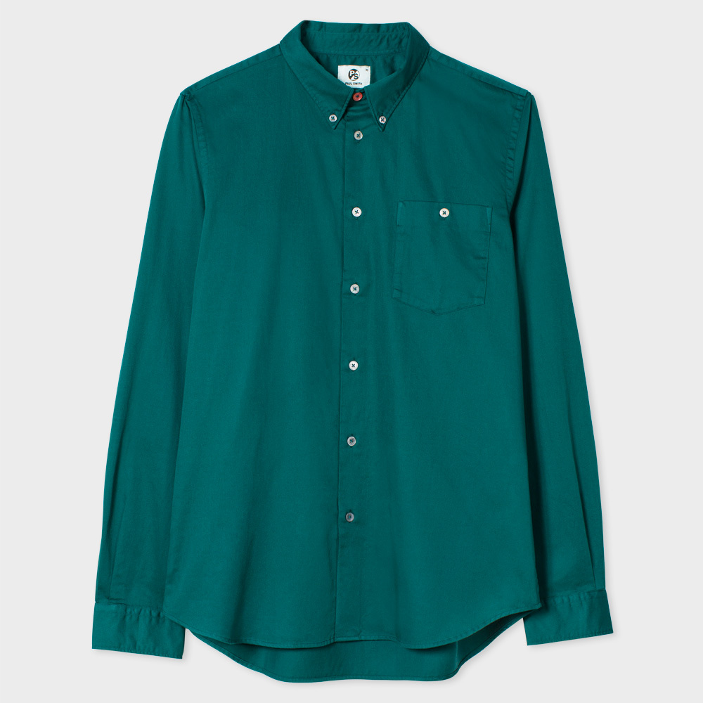 Paul Smith Men's Tailored-Fit Petrol Blue Garment-Dyed Cotton Shirt