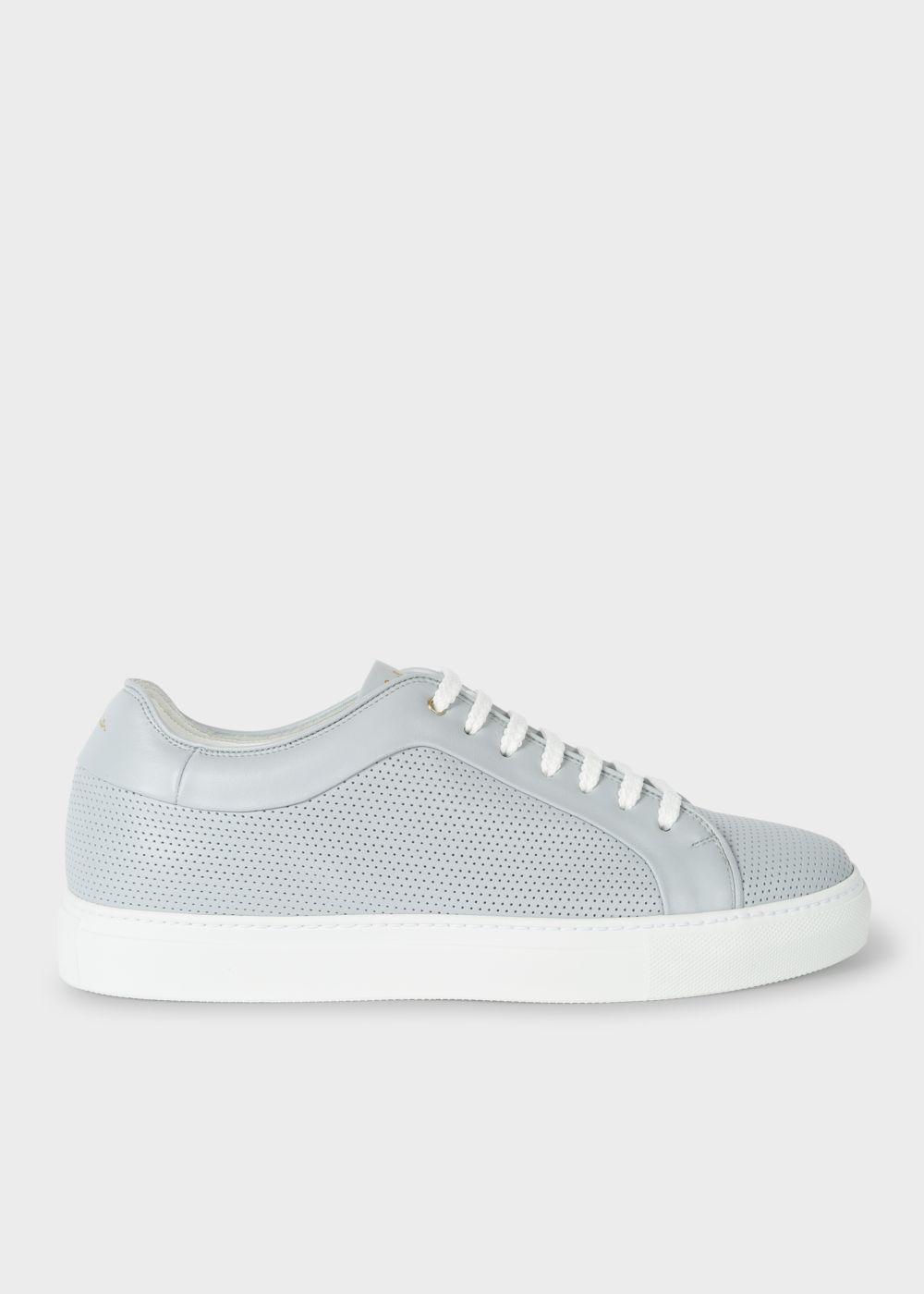 Paul Smith Men's Grey Perforated Leather 'Basso' Trainers