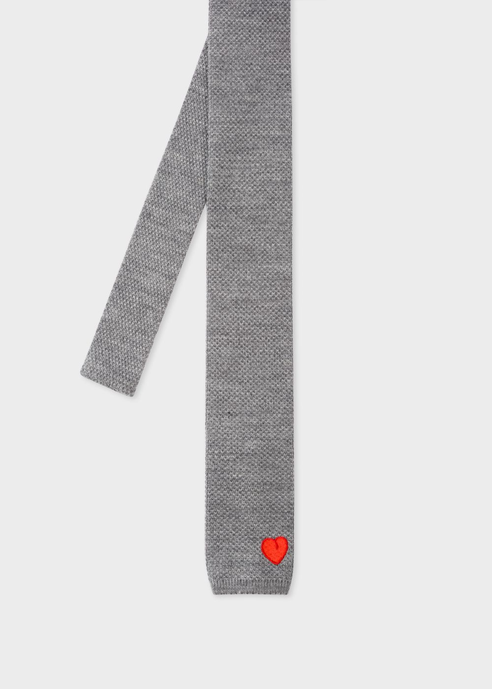 Paul Smith Men's Grey Embroidered 'Heart' Knitted Tie