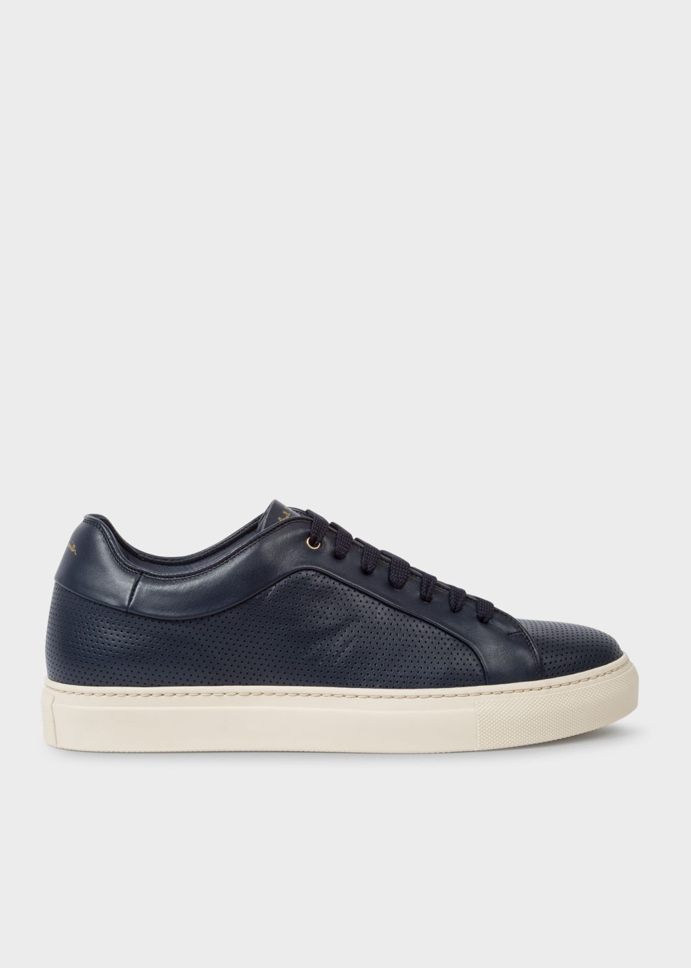 Paul Smith Men's Navy Perforated Leather 'Basso' Trainers