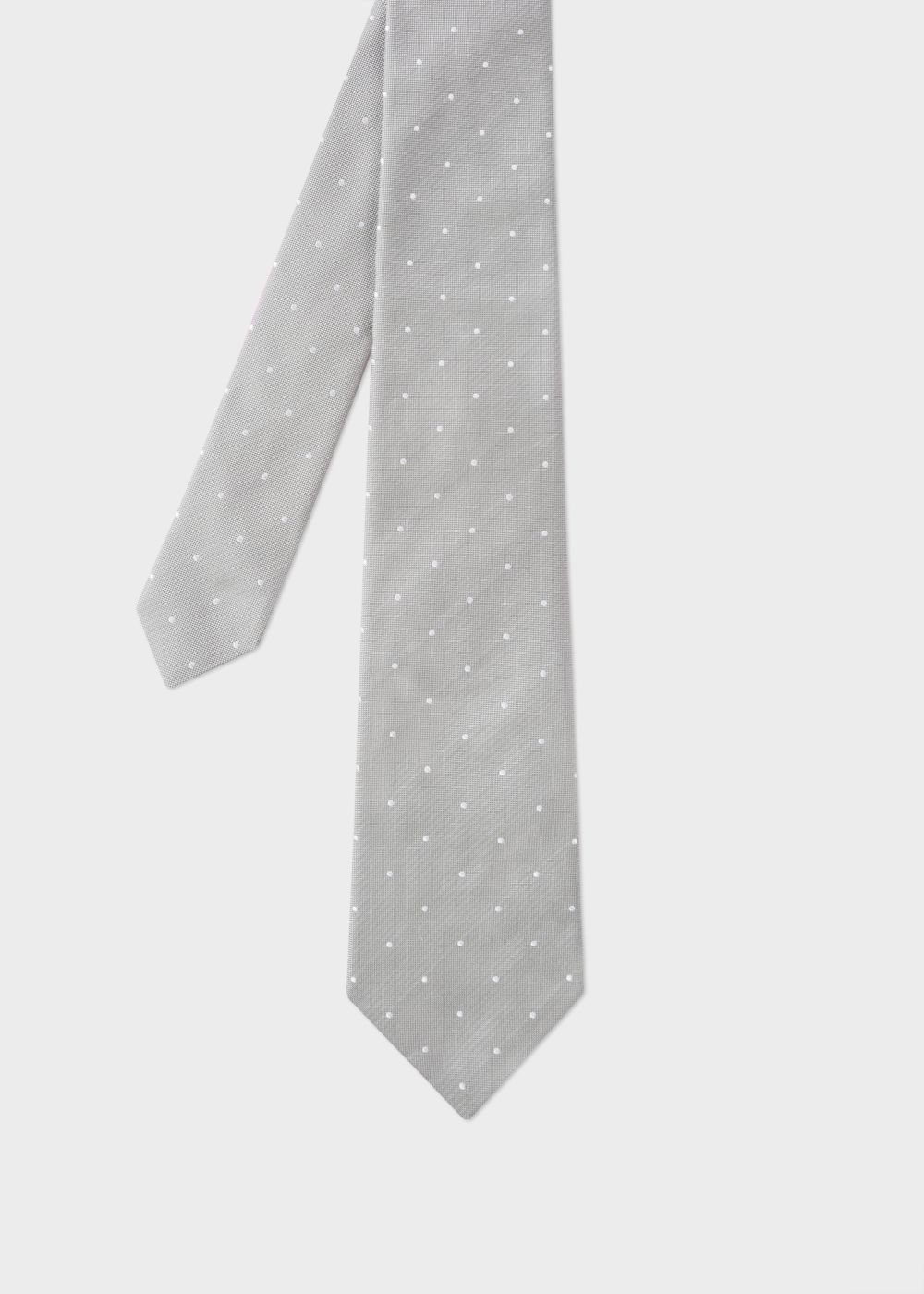 Paul Smith Men's Grey Micro-Polka Silk Tie With 'Naked Lady' Lining
