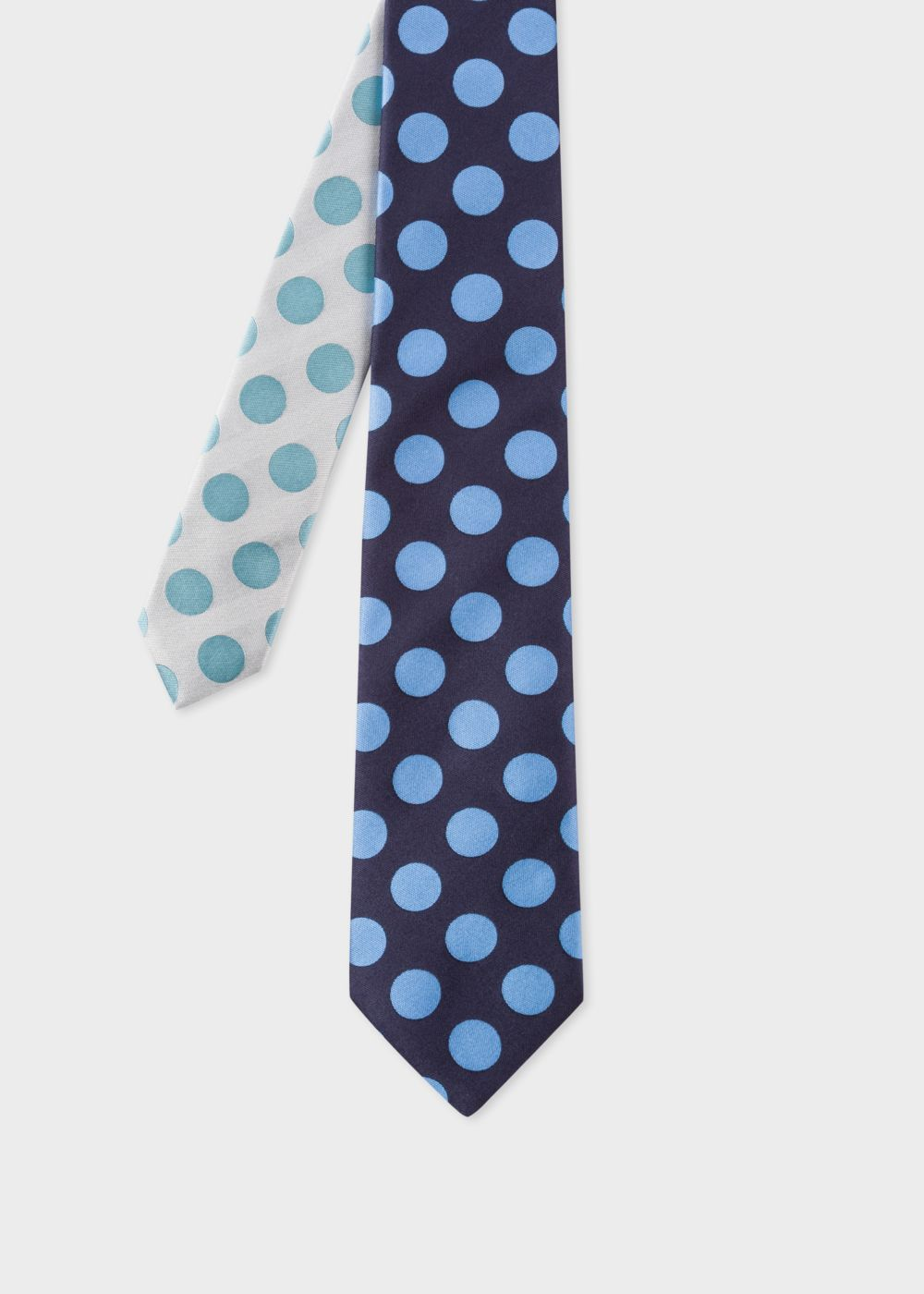 Paul Smith Men's Navy And Sky Blue Polka Dot Contrast-Tip Silk Tie