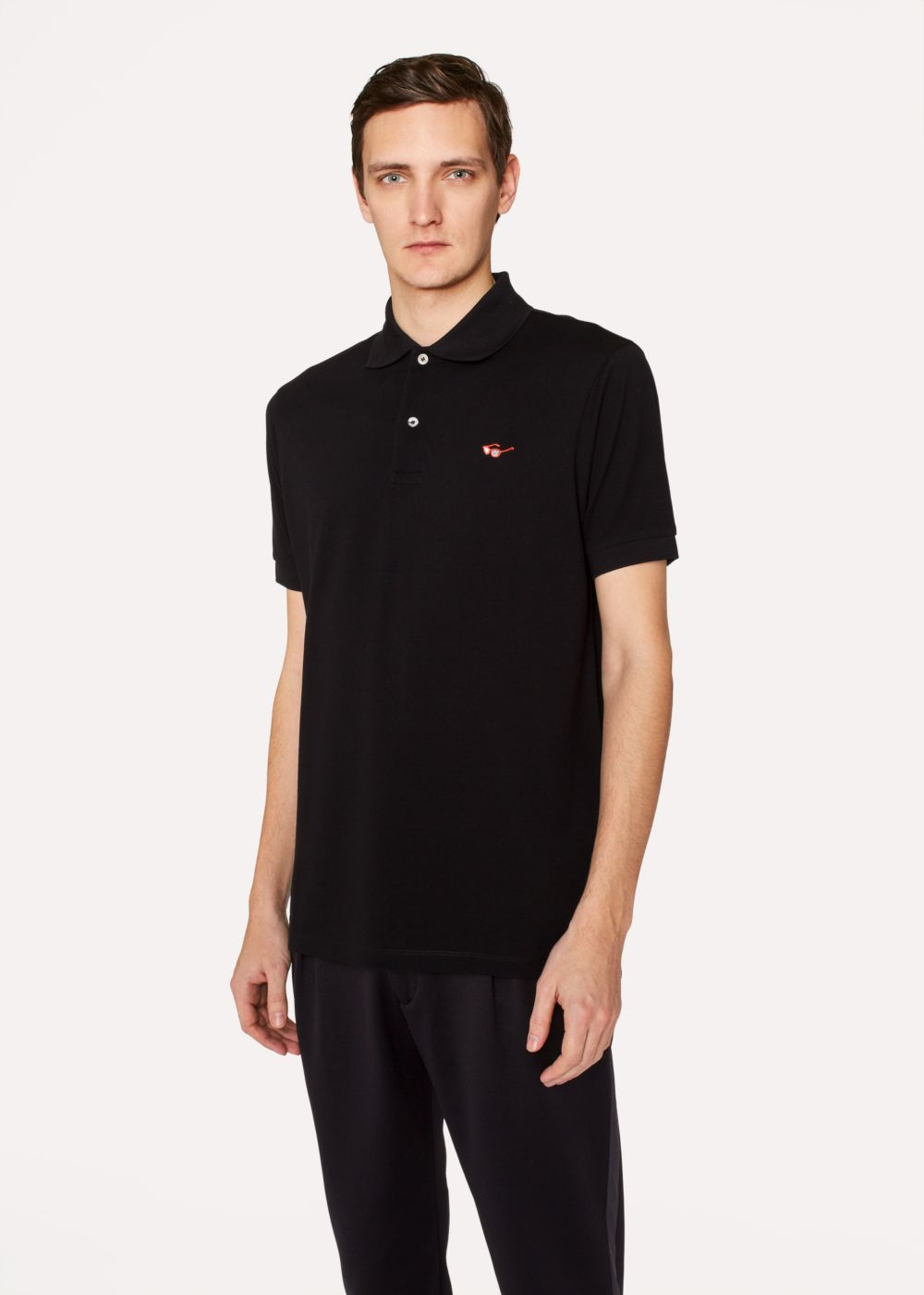 Paul Smith Men's Slim-Fit Black Cotton-Piqu Polo Shirt With Embroidered 'Sunglasses'