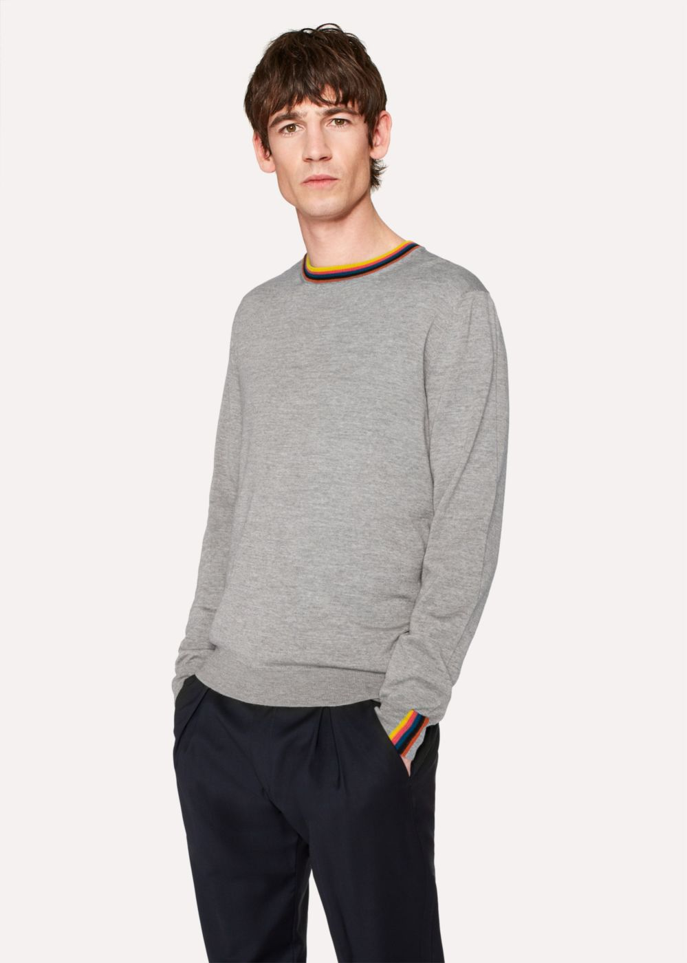 Paul Smith Men's Grey Marl Merino-Wool Sweater With 'Artist Stripe' Collar And Cuffs