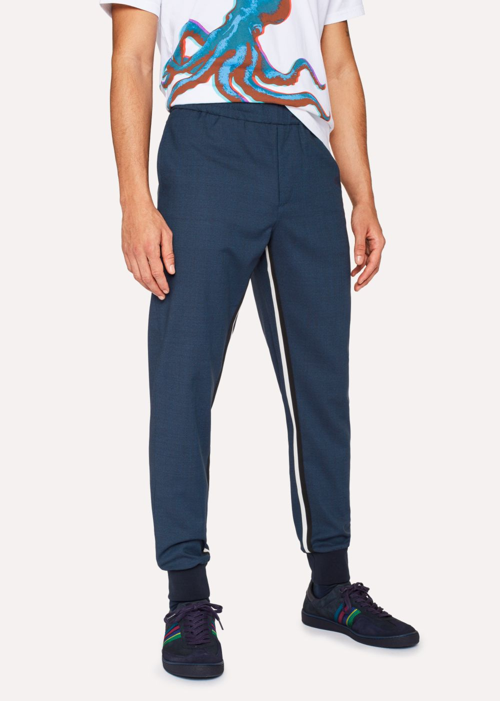 Paul Smith Men's Indigo Wool-Blend Trousers With Stripe Detail