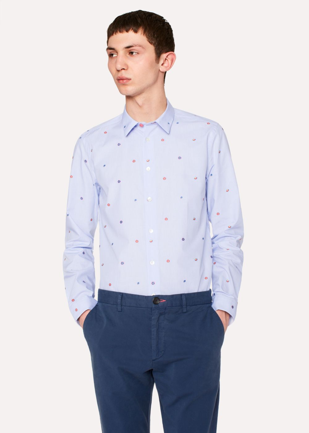 Paul Smith Men's Slim-Fit Sky Blue Micro-Check 'Kyoto Floral' Embroidered Cotton Shirt