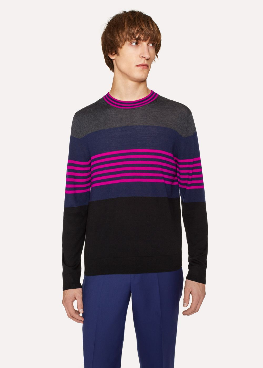 Paul Smith Men's Colour-Block Striped Merino-Wool Sweater