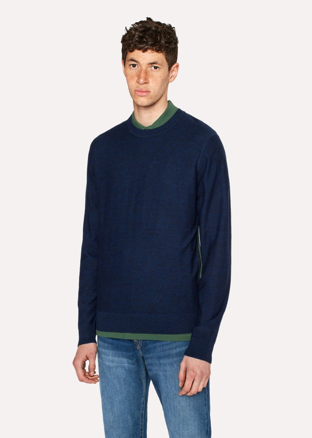 Paul Smith Men's Navy Wool Sweater With Side Stripes