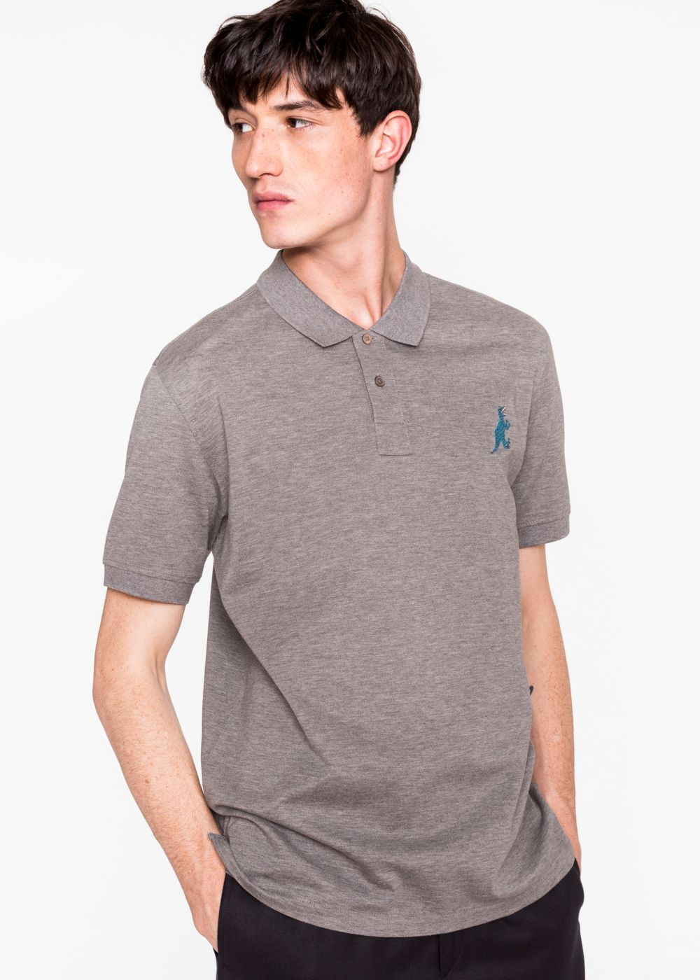 Paul Smith Men's Grey Marl Cotton-Piqu Embroidered 'Dino' Polo Shirt