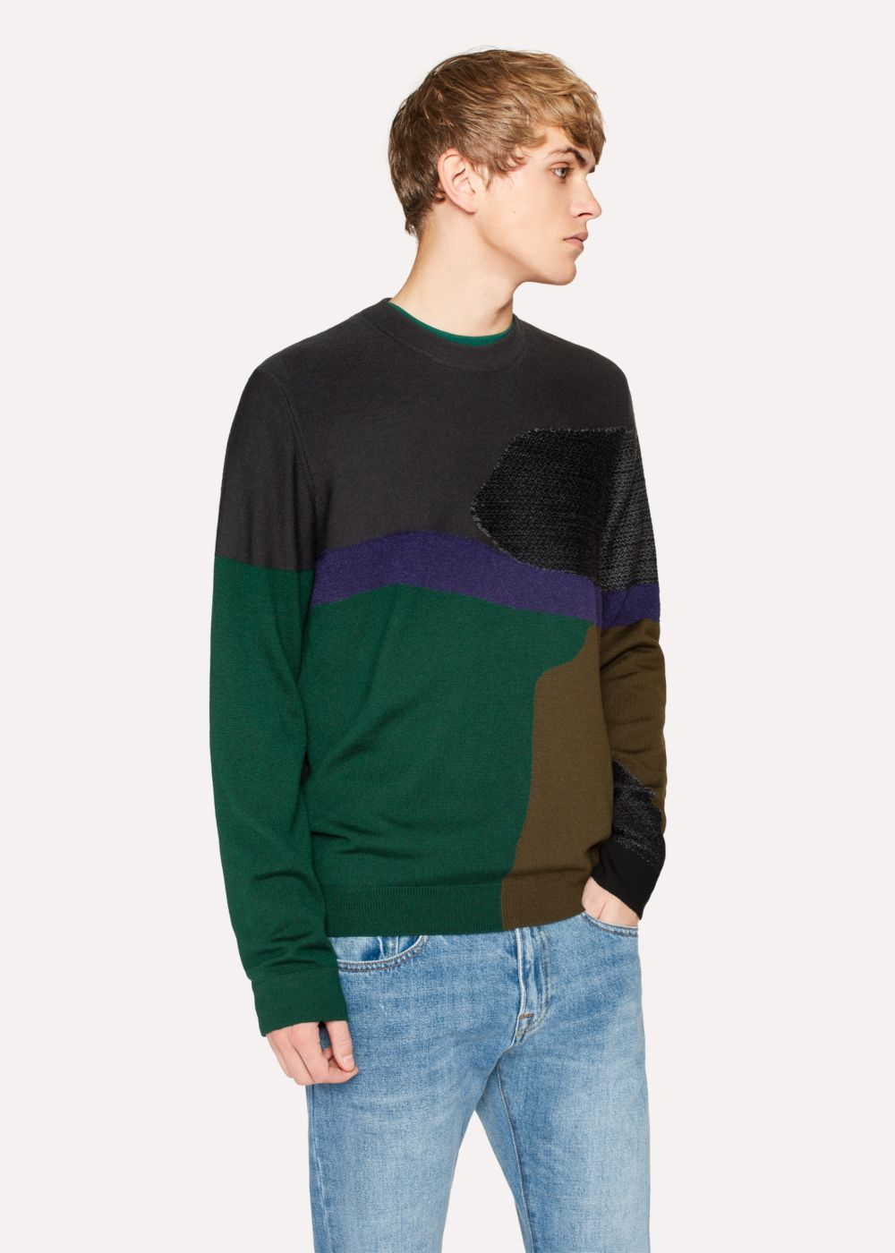 Paul Smith Men's Grey Colour-Block Textured-Knit Sweater