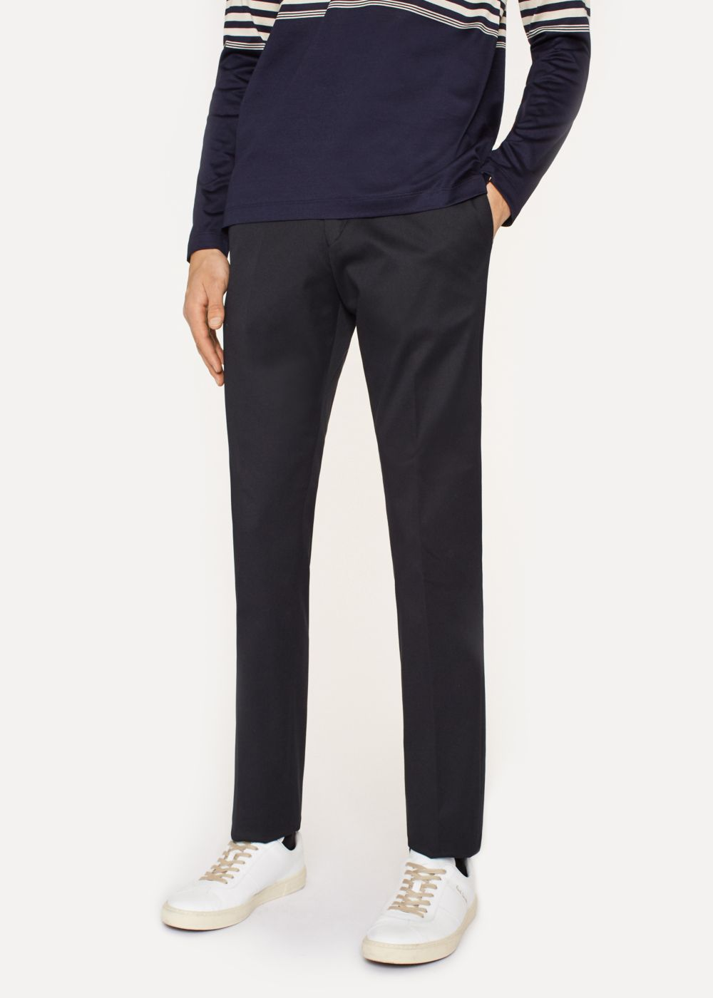 Paul Smith Men's Slim-Fit Navy Stretch-Cotton Twill Trousers