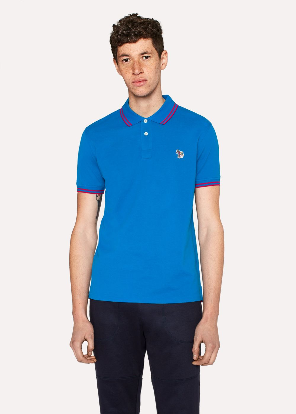 Paul Smith Men's Slim-Fit Blue Zebra Polo Shirt With Red Tipping