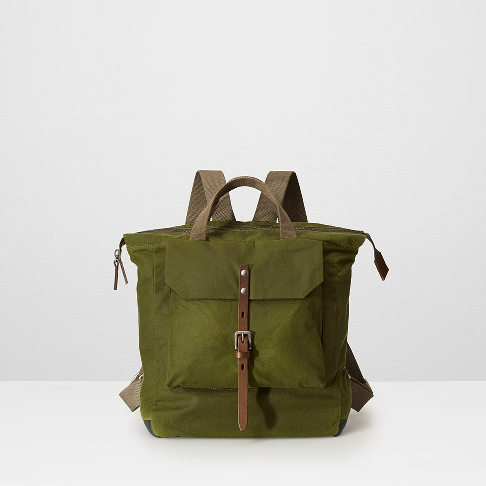 Ally Capellino green Frances Waxed Cotton Utility Rucksack in Green