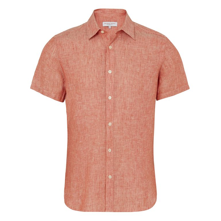 Orlebar Brown MEDEN Rosewood Tailored Fit Short-Sleeve Linen Shirt