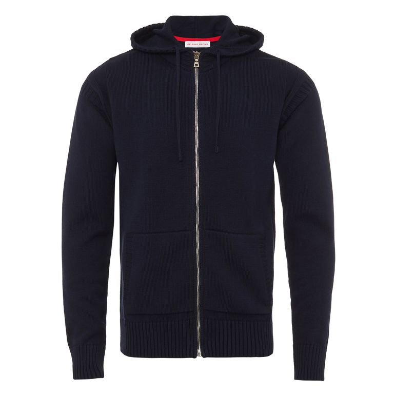 Orlebar Brown PEYTON Navy Guernsey Knit Cotton Zip-Up Hoodie