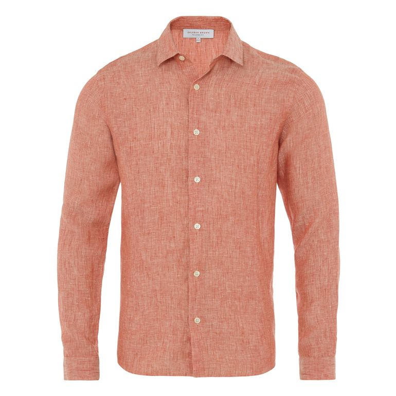 Orlebar Brown MORTON Rosewood Tailored Fit Linen Shirt